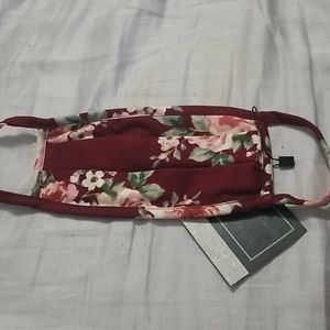 Maroon with floral design Mask